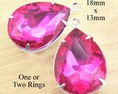 Fuschia Pink Glass Beads in Silver or Brass Settings, 18mm x 13mm Pear or Teardrop, Glass Rhinestone Jewels, Glass Gems, One Pair
