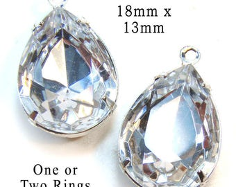Crystal Framed Glass Pendant or Earring Beads - 18mm x 13mm - Pear or Teardrop in Silver or Brass Settings - Rhinestones - One Pair