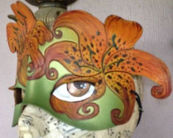 Tiger lily leather mask, create your magical flower fairy costume,leather mask by Faerywhere