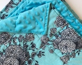 Weighted Blanket - Adult or Child - Blue on Blue Flowers - Choose your weight (up to 15 lbs) and minky color - custom