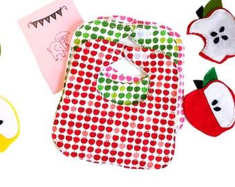 Red Apples Baby Bib, Baby Shower Gift, Drool Bib, Infant Bib, Handmade Bib