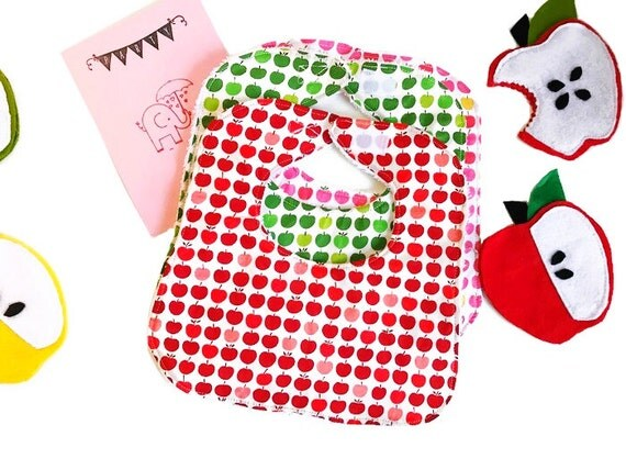 Red Apples Baby Bib, Baby Shower Gift, Drool Bib, Infant Bib, Handmade Bib