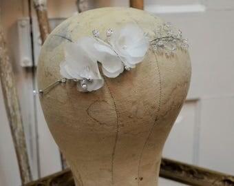Bridal Headpiece, Hair Vine, Hair Wrap, White Silk Flowers, Crystals and Rhinestones