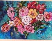 RESERVED. Balance Payment for Sarah. Ocean Flowers, Original Painting, Joy, Bohemian, Art, Rustic, Wall Art, Cottage Decor, Beach, Coastal