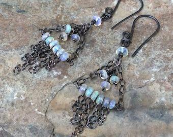 Ethiopian OPAL Earrings, Opal chandelier earrings, gemstone jewelry, handmade by AngryHairJewelry