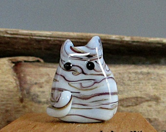 Pale Gray Tabby Kitten Bead Handmade Lampwork Focal - Madison FatCat