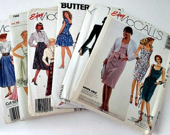 6 Misses Uncut Sewing Patterns Sizes 6 to 18 - Lot 1980s Mccall's New Look Butterick Voque Misses Sewing Patterns - dress skirt jacket ++