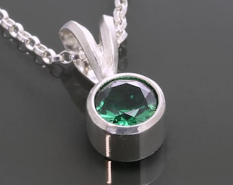 Simulated Emerald Pendant. Sterling Silver Necklace. May Birthstone. Tube Setting. 6mm Faceted Round. f15n005
