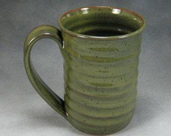One Coffee Mug Green 16 Ounce Ceramic Coffee Mug Green Ceramic Cup Pottery Coffee Mug Hand Thrown Stoneware Pottery A