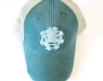 Distressed Snapback Trucker Hat - Wisconsin Patched Hat Green Arrow Compass on Green Hat