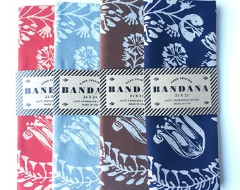Set of 4 Floral Bandanas, Hand Screen Printed and Soft