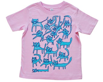 Raining Cats Pink Kids' T-Shirt