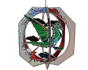 Fierce Dragon Stained Glass Suncatcher