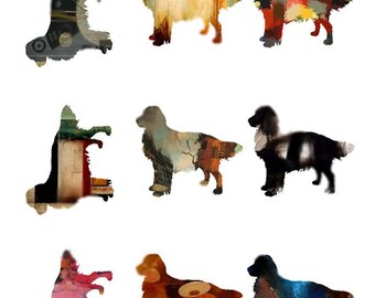 Altered Golden Retrievers - Digital Collage Sheet - Instant Download