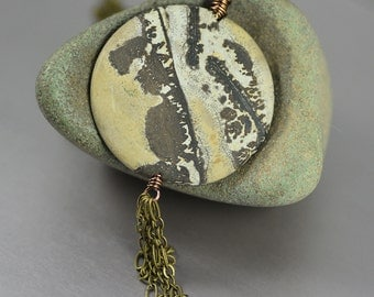 Matte Landscape Jasper Large Coin Brass Tassel Pendant Necklace