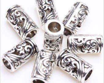 Tibetan Silver Versatile Larger Hole Fancy Tube Spacer Beads 8x5mm 12 pcs