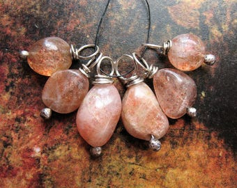 Natural, Rustic Sunstone Bead Charm Set - 6 pieces