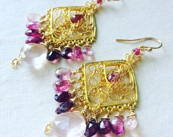 Pink Tourmaline and Rose Quartz Chandelier Earrings
