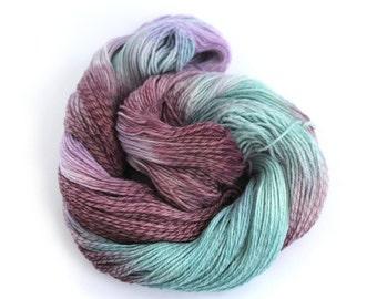 Hand dyed 4ply merino tweed, Perran Yarns Rainbow Flourite, fingering crochet sock yarn, aubergine teal lilac variegated skein, uk seller