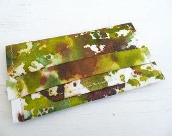 Earthy Greens and Brown Kraft Tex Gift Card Holder, Business Card Case, Card Sleeve, Hand Dyed