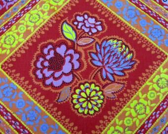 Vintage 1970's Fabric Boho Print, Bohemian Print, Red Orange Pink Purple Flower Diagonal Medallion, Gypsy 70's Cotton Fabric, 1.16 Yards