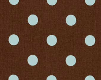 CLEARANCE - Premier Prints Polka Dot Kelso Brown French Blue Home Decorating Fabric By The Yard