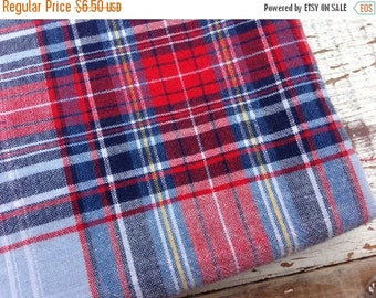 SALE- Classic Plaid Fabric-Reclaimed Bed Linens-Cabin Look-Red and Blue