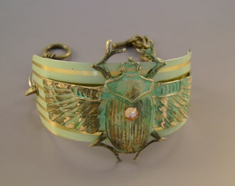 Eternity - Vintage Turquoise Striped Tin Patina Scarab Beetle Recycled Repurposed Jewelry Cuff Steampunk Bracelet