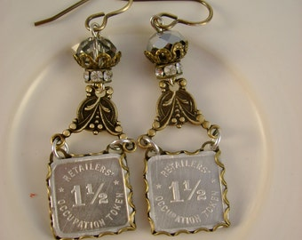 Tax Man - 1935 Depression Era State of Illiniois Retailers Sales Tax Tokens Rhinestones Recycled Repurposed Upcycled Earrings