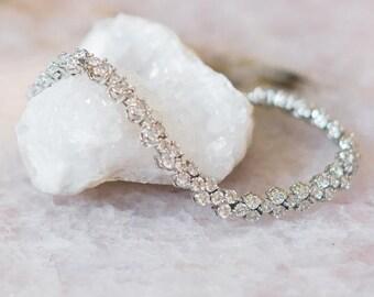 Silver and Crystal Wedding Bracelet, Anastasia