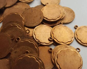 Vintage brass circle flower charms