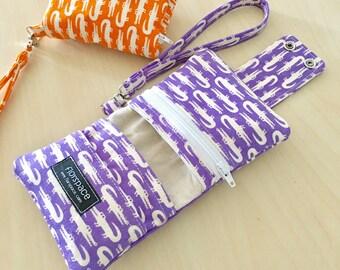 Retro Croco Lilac Cube Wallet ---------- Double Snaps, 5 Pockets, Wrist Strap
