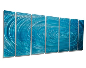 Large Modern Multi Panel Metal Wall Art in Aqua Blue, Abstract Water Inspired Painting, Contemporary Wall Art - Aqua Ripple by Jon Allen