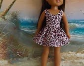 "SALE Pink Leopard Sundress Fits 14.5"" Dolls Like Wellie Wishers"