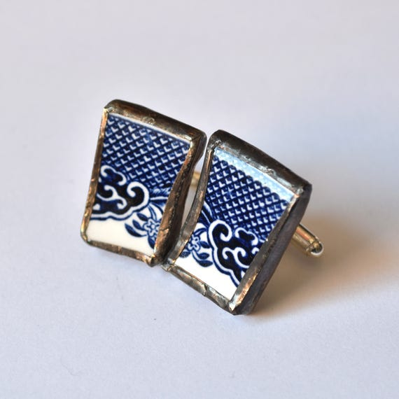 Broken China Cuff Links - Blue Willow