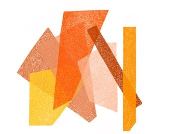 Orange, Yellow, Rust, Peach, Pink Jumble: Modern Geometric Art Print