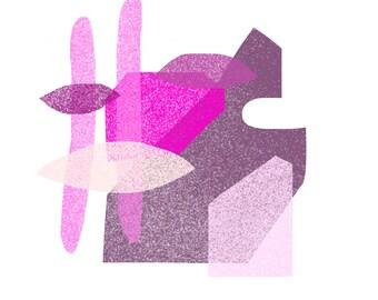 Mauve, Plum, Pink, Magenta, Bubble Gum Pink Jumble: Modern Geometric Art Print