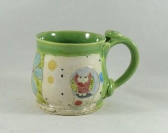 Ceramics and Pottery, Coffee Cup, Contemporary Design, Owl Mug, tall teacup, tea mug or pottery mug  beer tankard, stein Holds 10 ounces 699