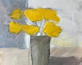 acrylic painting on paper art original painting 9x12 whimsical art framed art yellow art