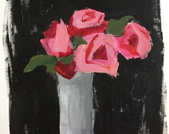 art for bedroom original acrylic painting on fine art paper, pink and black flower painting