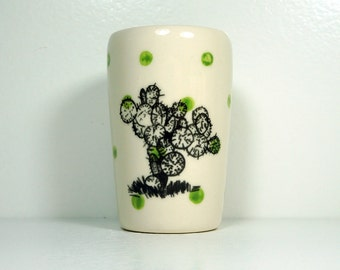 itty bitty cylinder / vase / cup with a Pancake Cactus succulent print on Leaf Green polkadots, Ready to Ship