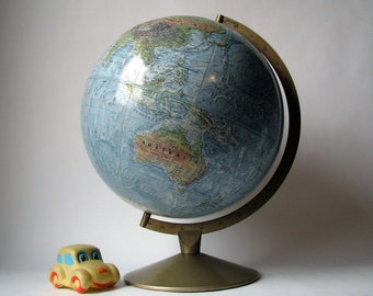 Vintage - Replogle - Land and Sea - True-to-Life - World Globe - Map - Metal Stand - 12 Inch - Relief Surface - School Globe - Home Decor