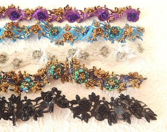 CLEARANCE - 5 beaded floral trim lengths