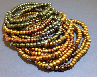Convertible Necklace - Matte Gold Bracelet - Green Bracelet - Beaded Jewelry - Stretch Necklace Bracelet - Wrap Bracelet - Seed Bead Jewelry