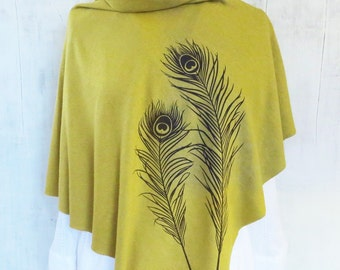 Womens Graphic Poncho - Hemp Organic Cotton Jersey Poncho - Womens Shawl - Mustard Poncho - Ladies Screen Printed Poncho - Peacock Feathers
