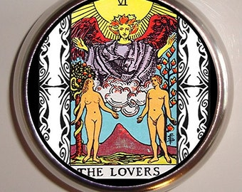 The Lovers Tarot Card Pillbox Pill Box Case Holder for Vitamins Pills Occult