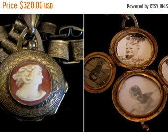 ON SALE Antique Carved Cameo Locket Necklace