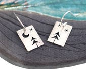 Sterling Silver Two Open Pine Trees + Starry Skies w/ Crescent Moon Tree Art earrings - made to order