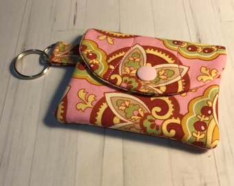 Keychain Snap Business Card Mini Wallet - Pink Paisley