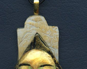 One of a Kind  Layered  Golden Asian Necklace on  Black Leather Cording LYAN 1